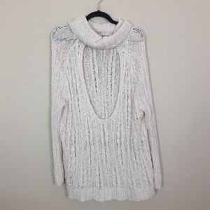Free People Open Back Cowl Neck Sweater